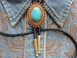 New Turquoise Colour Bolo Bootlace Tie Gold Metal Western Ladies Men Wedding