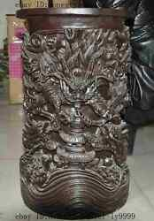 Old Rosewood Wood Carved 5 Dragons Beast Play Bead Brush Pot Pencil Vase Jar A