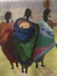 Tapestry New, Hand Woven, Mohair Multicolors, Contemporary, Village Life 26wx36l