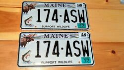 Maine Support Wildlife License Plates Pair 174 - Asw Moose Trout