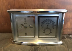 Bulova Clock with Hygrometer and Thermometer in Brushed Aluminum Case