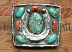 Vtg Large Hand Made Sterling Silver Turquoise Coral Lucky Horseshoe Belt Buckle