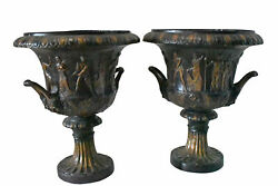 Pair of Beautiful Urns Bronze Statues Size: 24quot;L x 24quot;W x 29quot;H.