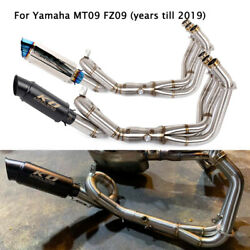 For Yamaha Mt09 Fz09 Exhaust System Front Connector Link Pipe Slip Mufflers 51mm