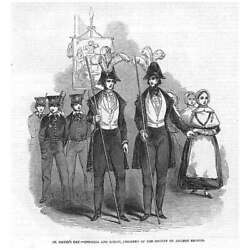 St Davidand039s Day Society Of Ancient Britons Officers And Children-antique Print 1846
