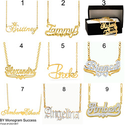Personalized Sterling Silver 14KGold Any Name Plate Script Chain Necklace USA $28.93