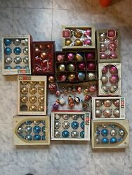 Vintage 1950s 60s Christmas Ornaments Mercury Balls Indented Shiny Brite