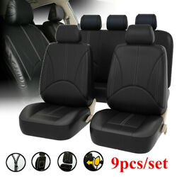 Black Leatherette Car Seat Covers Front Rear Full Set Synthetic Leather Auto Pan