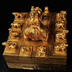 6and039and039 Old Bronze 24k Gold Twelve Chinese Zodiac Signs Twelve Animal Seal Signet