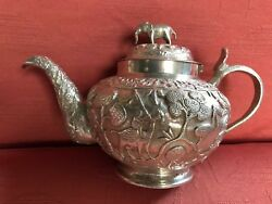 Antique Indian Silver Tea Set . Bombay Silver .1900. 758 Gms. Lucknow. India.