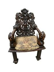 Ornately Carved Antique Arm Chair Dragon Carvings Oak 19th Century