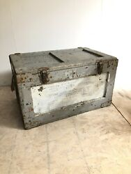 1940s Us Navy Shore Party Medical Supply Chest Usn Trunk Wood Crate Wwii