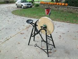 Grinding/ Sharpening Wheel W/ Metal Frame And Seat - Fine Working Condition