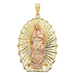 Virgen De Guadalupe 14k Yellow Gold Pendant - Our Lady Of Guadalupe Medal