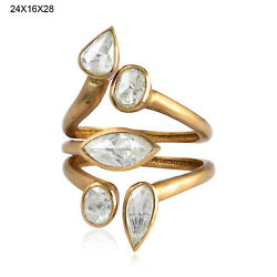 1.24ct Rose Cut Diamond 18kt Yellow Gold Ring Indian Ethnic Look Jewelry