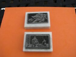 Pewter And Marble 5 Cent Space And 3 Cent Birth Of Betsy Ross Stamp Paper Weight