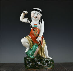 18.4#x27;#x27; China Antique Statue Enamel Porcelain Buddha Statue Old Pottery