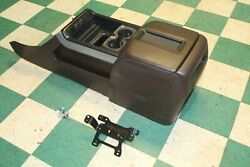 14-15 Sierra Brown Leather Front Center Console Armrest Assembly W/brackets Oem