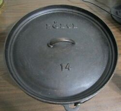 Lodge 14co Cast Iron Shallow Camp Dutch Oven Made In Usa Discontinued No.14 Rare
