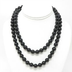 Nyjewel And Co. Sterling Silver 10mm Black Jade Beads Long Necklace 37