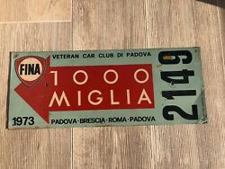 Automobile 1000 Miglia Race Car Sign Grand Prix Fina Oil Gas Service Millemiglia