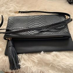 Gigi NY Navy blue Convertible Clutch Crossbody Fold Over Embossed Leather New $39.98