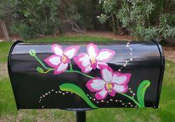Extra Large Big Size Hand Painted Black Steel Mailbox Post-mount Orchid Flower