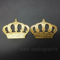 2x Metal Crown Luxury Car Gold Decorate Emblem Badge Decals Stickers Mortocycle