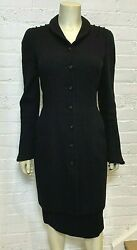 Black Wool Suit, Long Jacket With Skirt 2006 Fall 38fr 6us