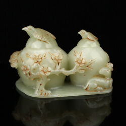 5.8 Antique Chinese 100 Natural Old Jade Magpie Plum Blossom Deer Statues