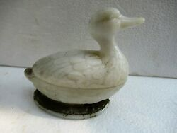 Antique French Eapg Vallerysthal Milk Glass Standing Duck Covered Butter Dish F
