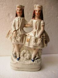 Antique English Pottery Staffordshire Figurines Two Girls Holding Garlands quot;F6