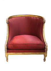 Furniture, Red Luxury Satin Chair Louis Xvi Style With Pillow, Upholstered In A
