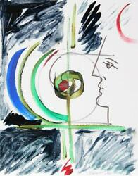 Mara Karetsos, Profile And Sculpture Ii, Ink And Gouache On Board, Signed L.r.