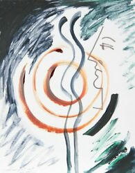 Mara Karetsos, Profile And Statue, Ink And Gouache On Board, Signed L.l.