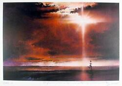 Robert Peak Runner With Sun In Sky Joe Dimaggio Lithograph Signed And Numbe