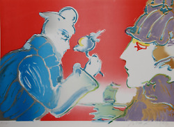 Peter Max Giving Of The Flower Lithograph Signed In Pencil