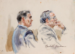 Marshall Goodman 21 - Two Figures Two Men Right Profiles Watercolor On Paper