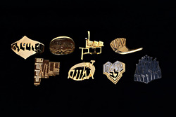 Michael Katz, Judaica Pins, Group Of Eight Metal Brooches