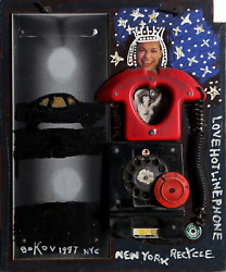 Konstantin Bokov Love Hot Line Phone Found Art Collage On Wood Signed And Dat