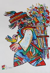 Jovan Obican, Man With Two Birds, Acrylic On Paper, Signed L.l.
