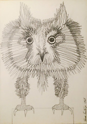 Ramon Santiago, Owl, Charcoal On Paper, Signed L.r.