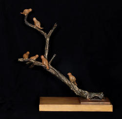 Nili Carasso Meeting Bronze Sculpture On Wood Base Signature Inscribed
