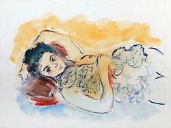 Wayne Ensrud, Reclining Woman I, Watercolor And Gouache On Paper, Signed L.r.