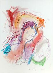 Wayne Ensrud, Reclining Woman Ii, Watercolor And Gouache On Paper, Signed L.r.
