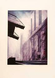 Eyvind Earle, Factory, Aquatint Etching, Signed And Numbered In Pencil