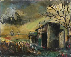 Veronique Mary Backyard Shack Oil On Canvas Signed L.r.