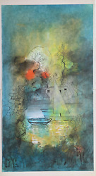 Luz, Boats At Shore, Watercolor, Ink, And Gouache On Paper, Mounted To Board, Si