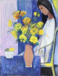 Jose Canes Girl In Blue Room Acrylic And Pastel On Paper Signed L.r. And039doreand039