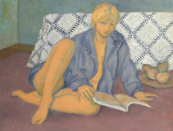 Laurent Marcel Salinas Woman Reading With Pears Oil On Board